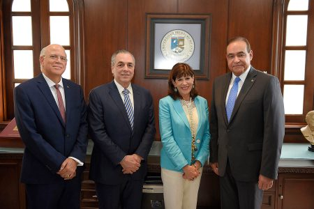 Dr. Gustavo Batista, Ing. Abraham Hazoury, Embajadora Robin S. Bernstein, Dr. Julio Amado Castaños Guzmán