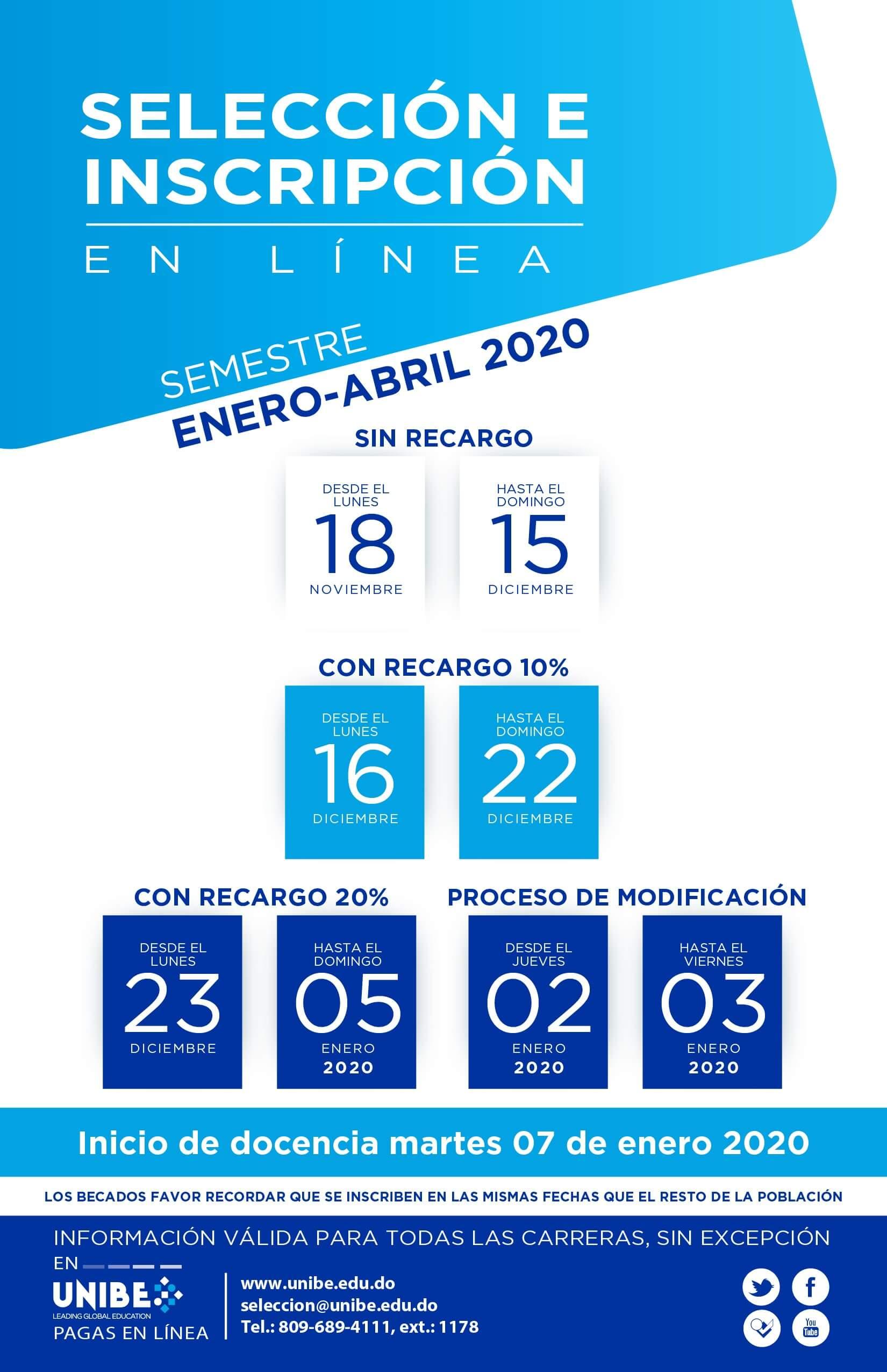 Inscripción UNIBE 2020